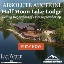 Advertisement, Text: Auction! Half Moon Lake Lodge