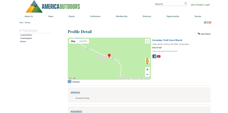 Directory Listing on America Outdoors website